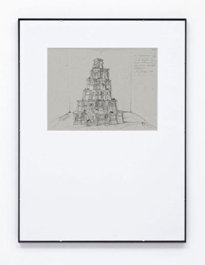 Pfarr, Paul - Skizze zu Monument (50 Hocker aus Russischer Kaserne) - 1996
