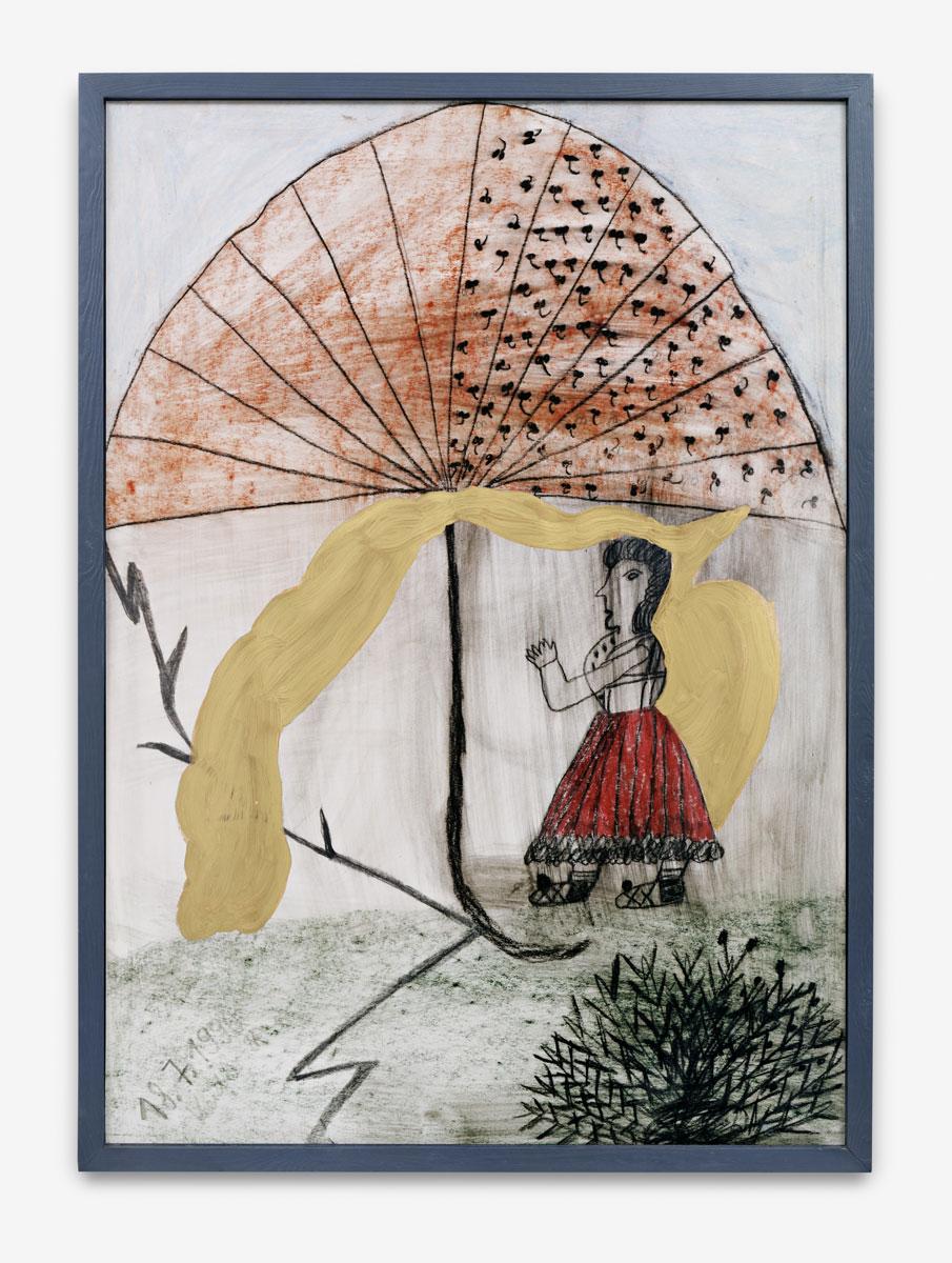 Dubuffet, Jan - Die Frau mit dem goldenen Schirm (Replik) - 1990